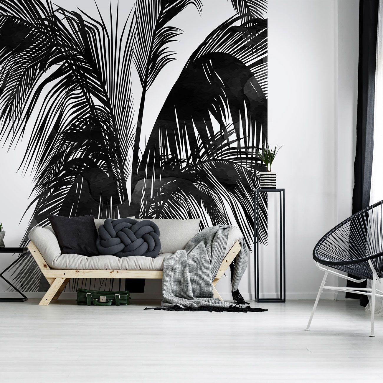 Schwarz weißes Palmenmotiv für die Wand
