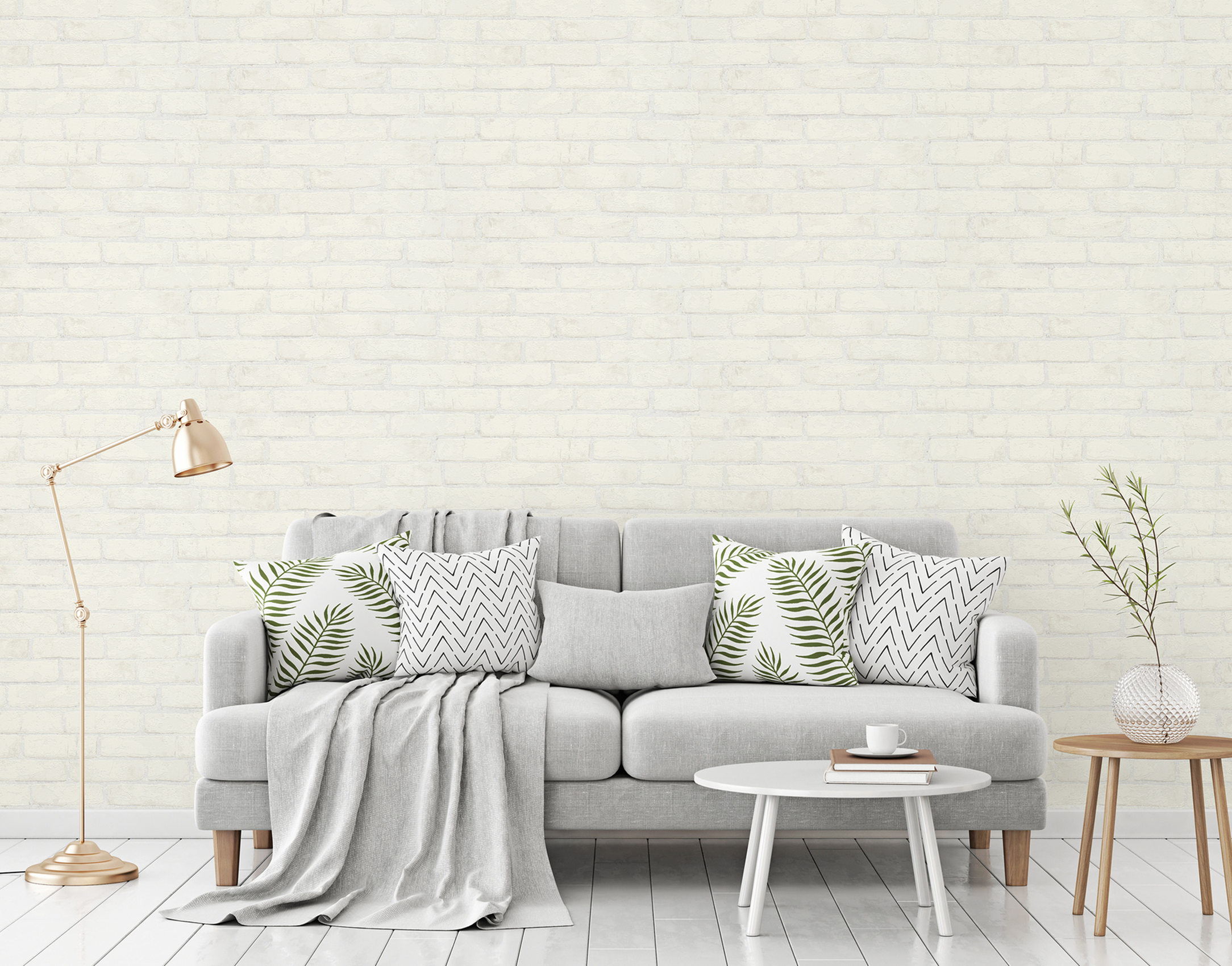 Helles Wohnzimmer mit Steinoptik Tapete  mit weißen Ziegeln, Artikel AS907851