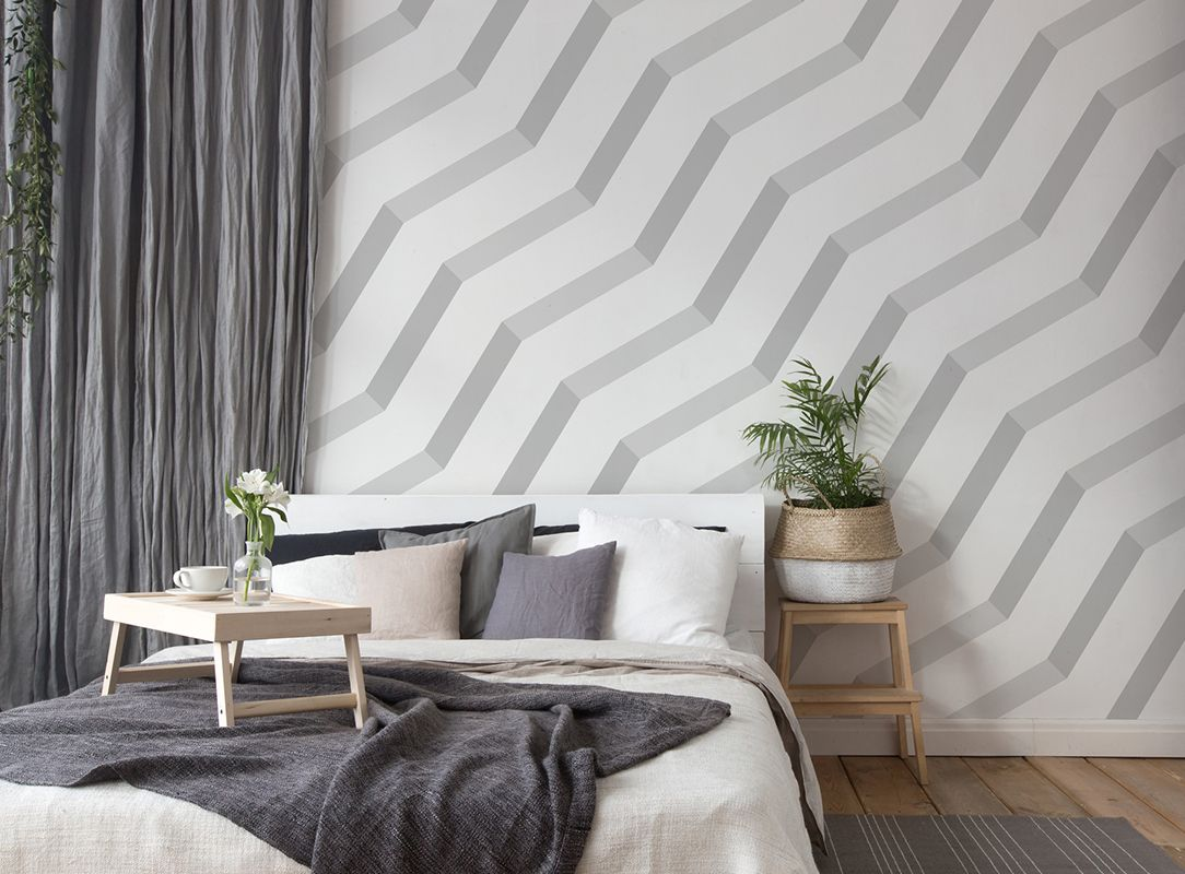 Grau Weiße Fototapete Schlafzimmer DD115515