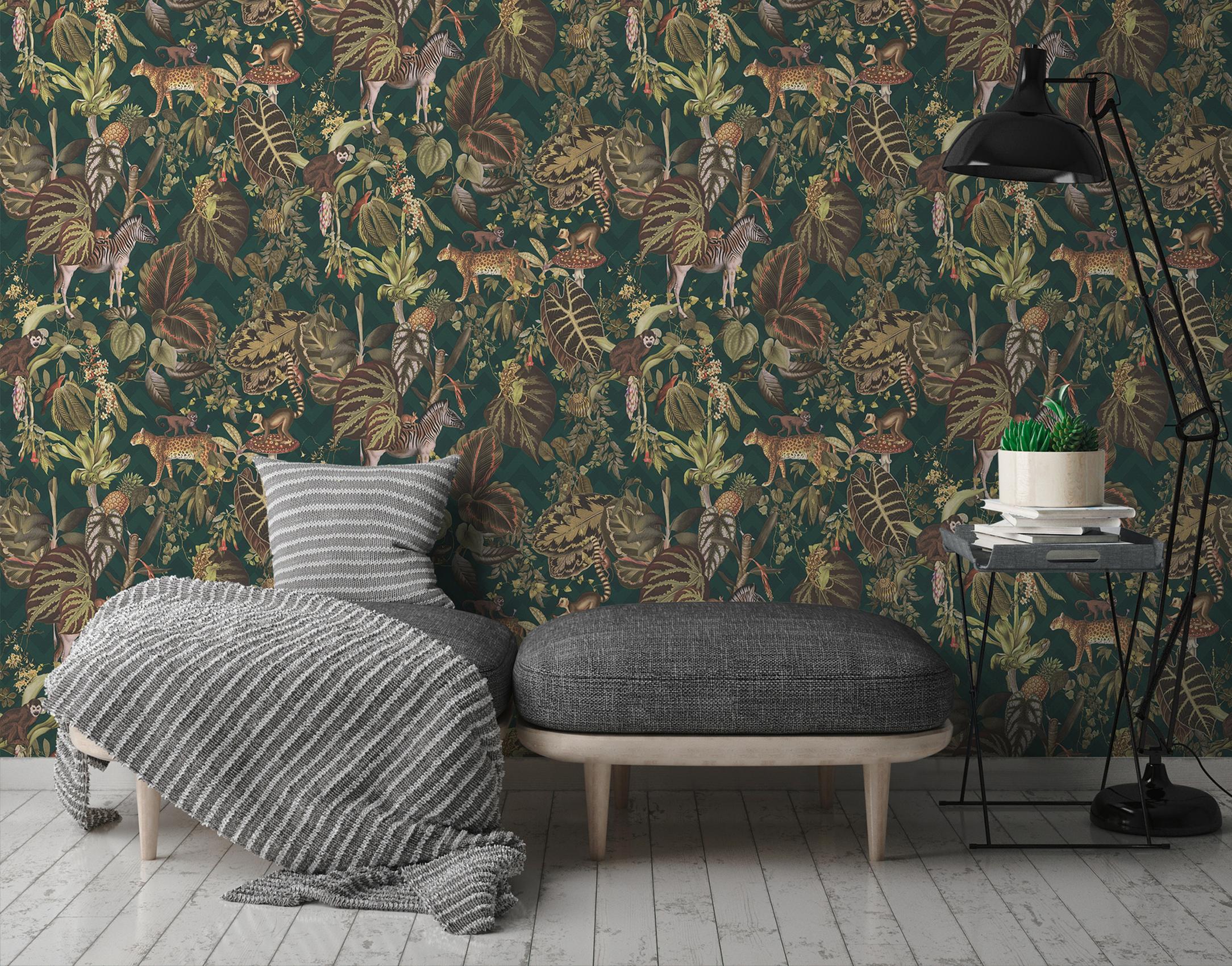 Dschungeltapete im Wohnzimmer, wilde Natur und Tier-Motive von Michalsky Living, Artikel AS379902