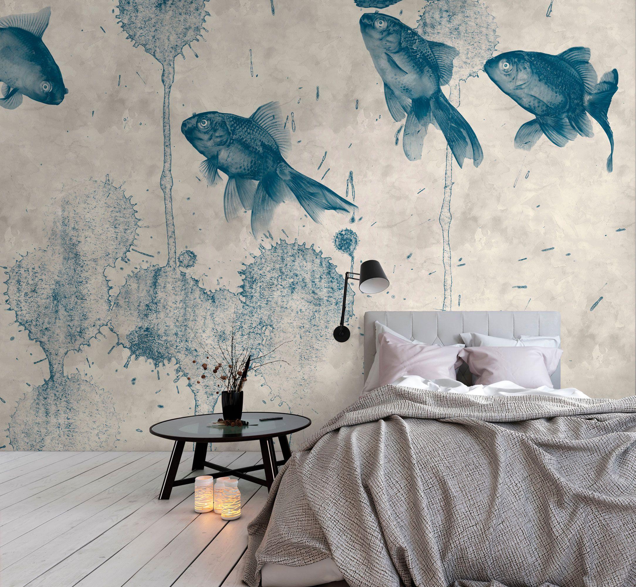 Fototapete-mit-blauen-Fischen-DD110821