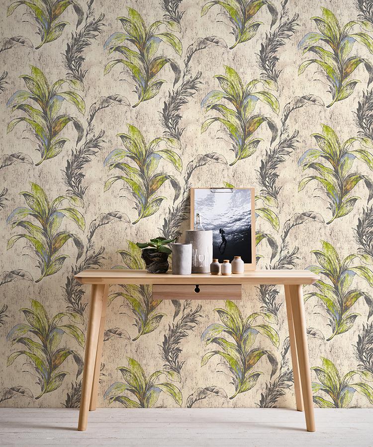 Raumbild mit Schreibtisch vor Blättertapete von Designer Michalsky, Artikel AS304564