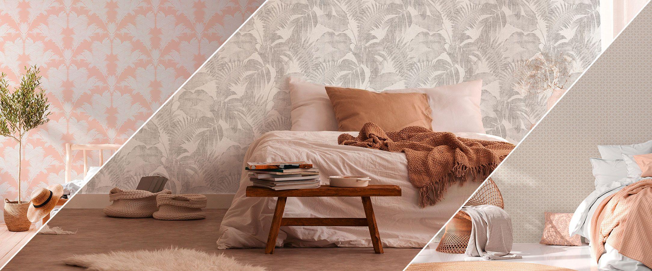 Trendige Schlafzimmer Tapeten in Beige und Rosa