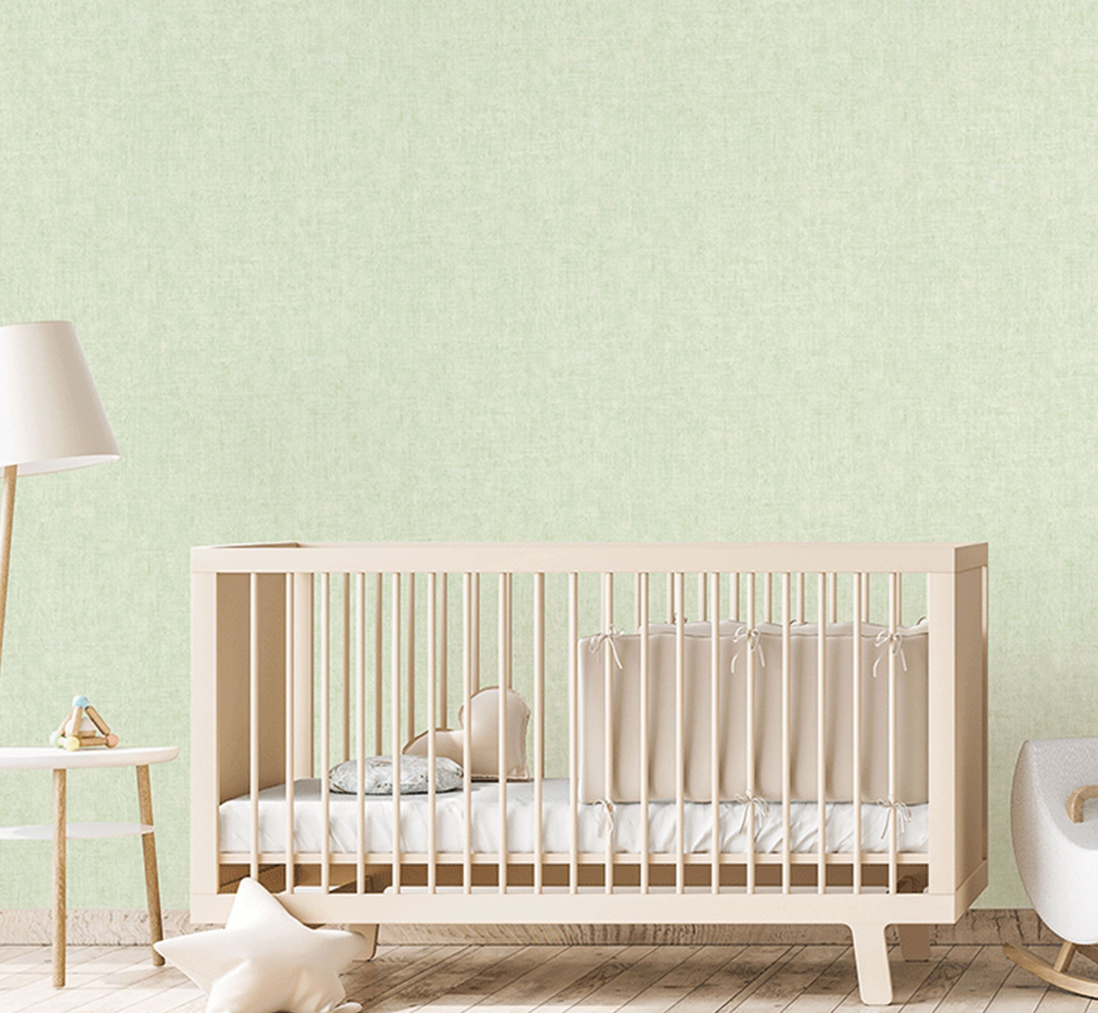 Hellgrüne-Unitapete-Kinderzimmer-373342