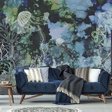 Blaue Wohnzimmer Fototapete DD120053
