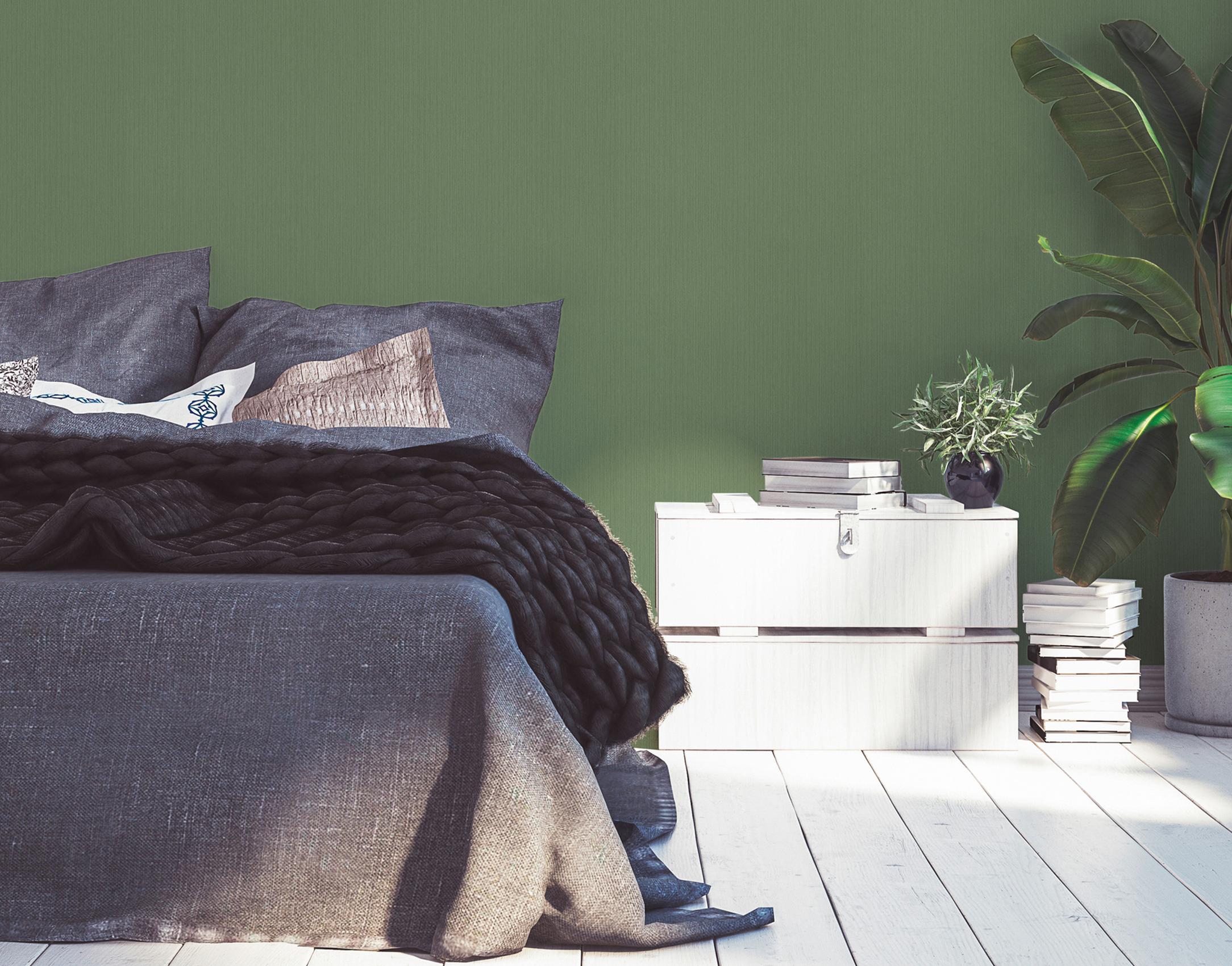 Schlafzimmer minimalistisch und modern mit grüner Unitapete, Artikel AS379875
