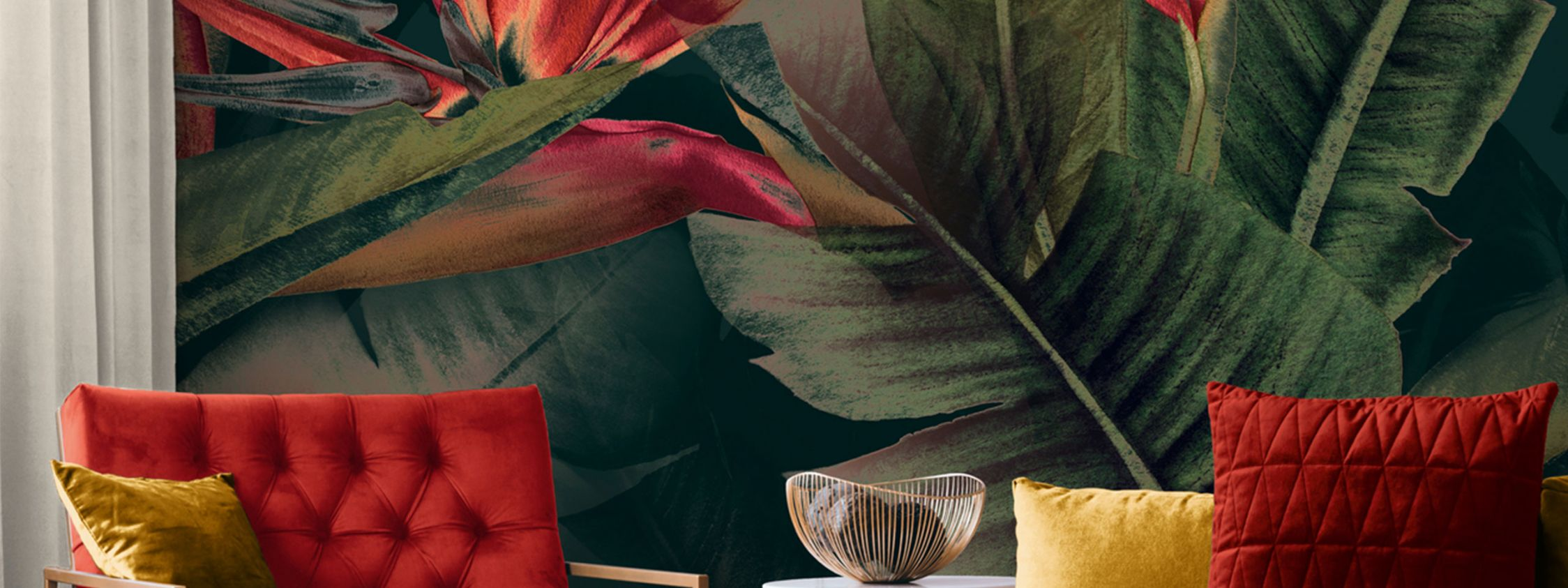 Grün-Rote Dschungeltapete für alle Räume DD120243