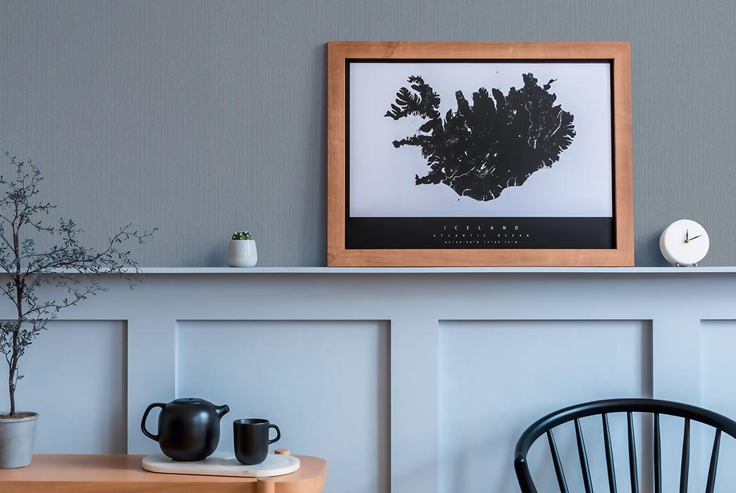 Frühstücksecke modern  Wände mit Holztäfelung und Michalsky Tapete in hellem Grau, Artikel AS379871