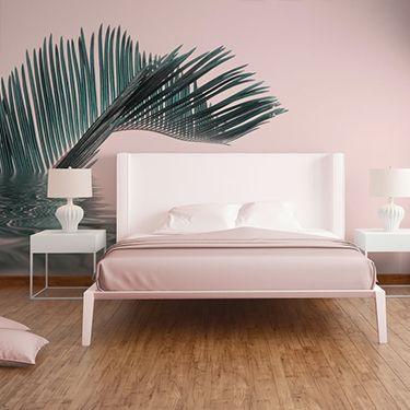 Palmentapete Pastell Schlafzimmer DD119785