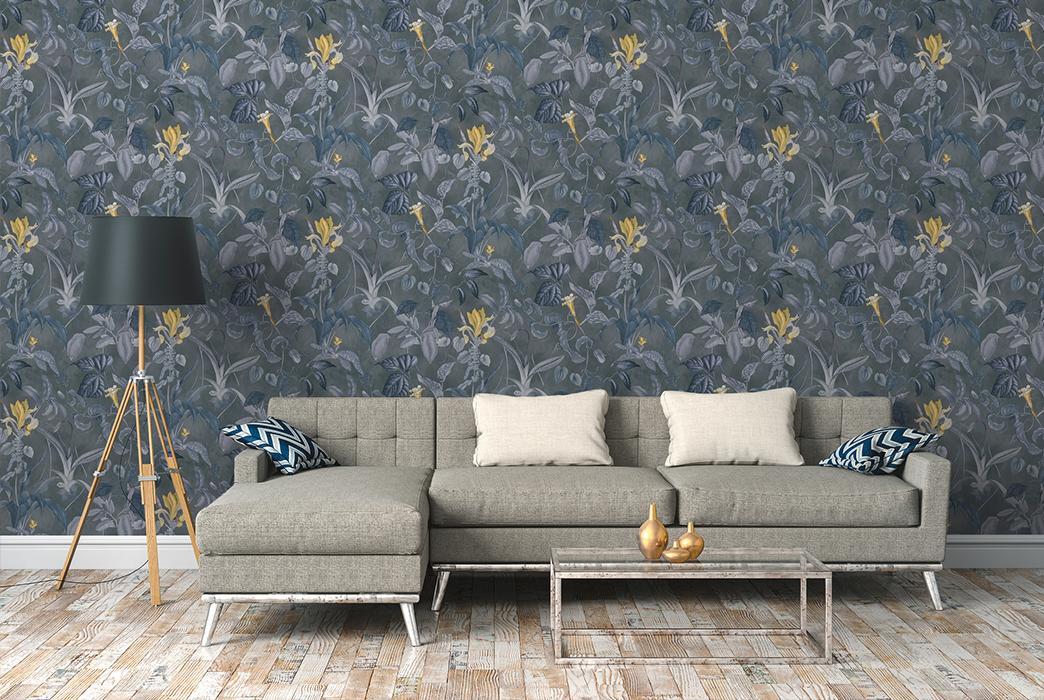 Modernes Wohnzimmer tapeziert, Designertapete von Michalsky, Artikel AS379883
