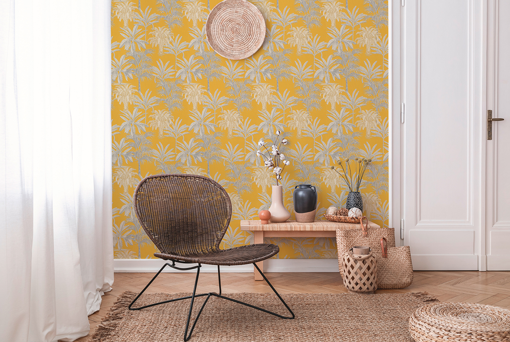 Wohnzimmer Boho Stil mit gelber Tapete von Michalsky Living, Artikel AS379833