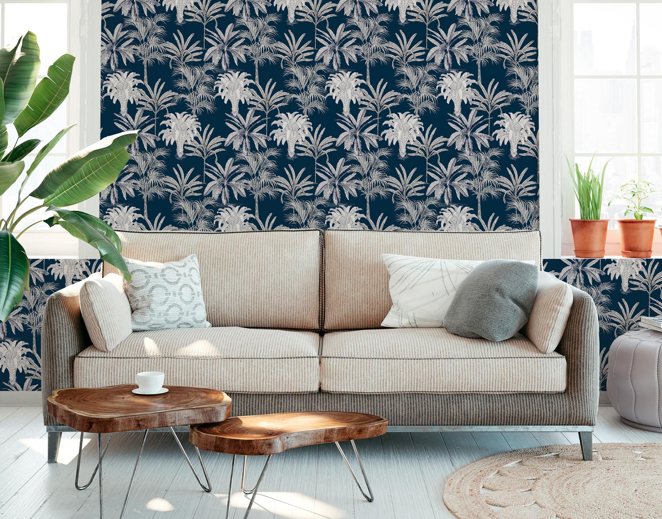 Wohnzimmer Ansicht mit moderer Tapete von Michalsky Lifing, Artikel AS379835