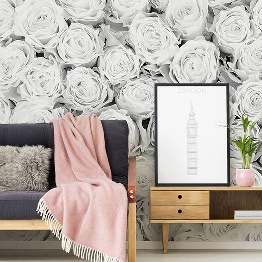 Schwarz Weiße Rosen Fototapete Natur DD115093